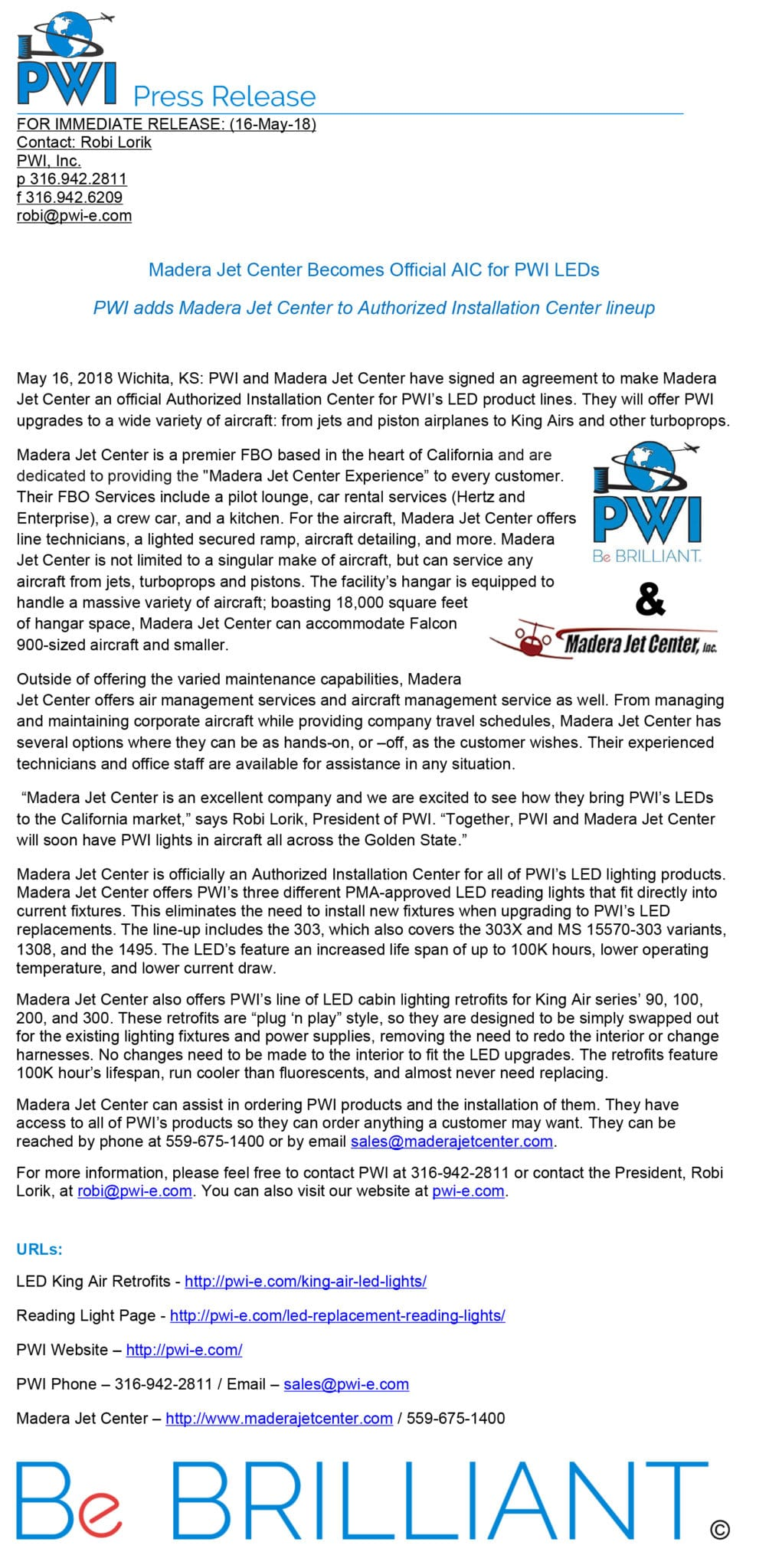 Madera Jet Center Becomes Official Aic For Pwi Leds Pwi Inc