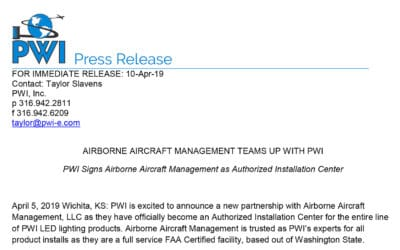 Airborne Aircraft Management Teams Up with PWI