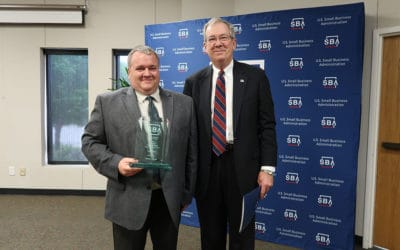 Chris Waggoner (PWI Director of Operations), Receiving the 2019 Kansas Small Business Exporter of the Year Award